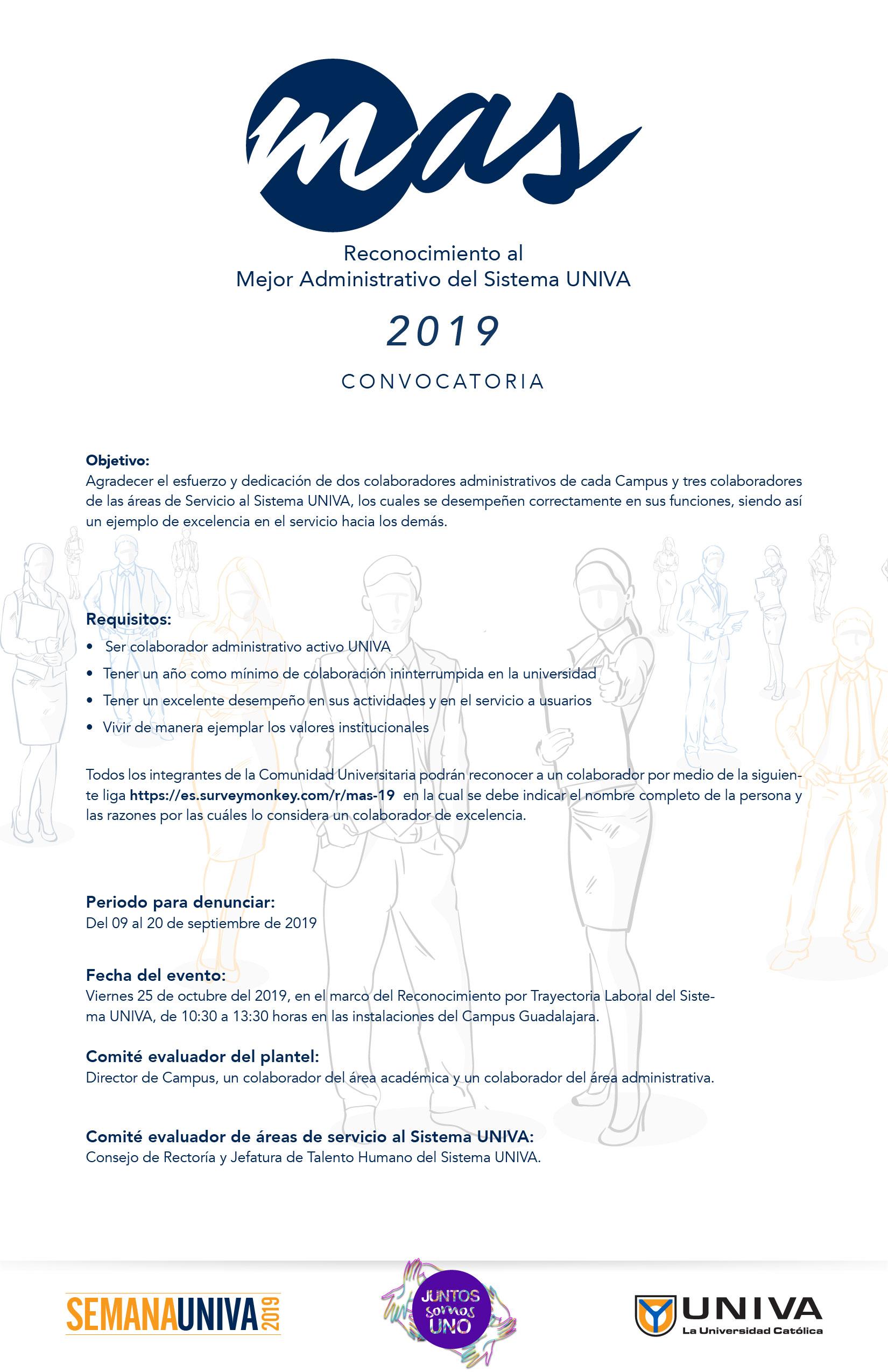 Reconocimiento al Mejor Administrativo del Sistema UNIVA 2019