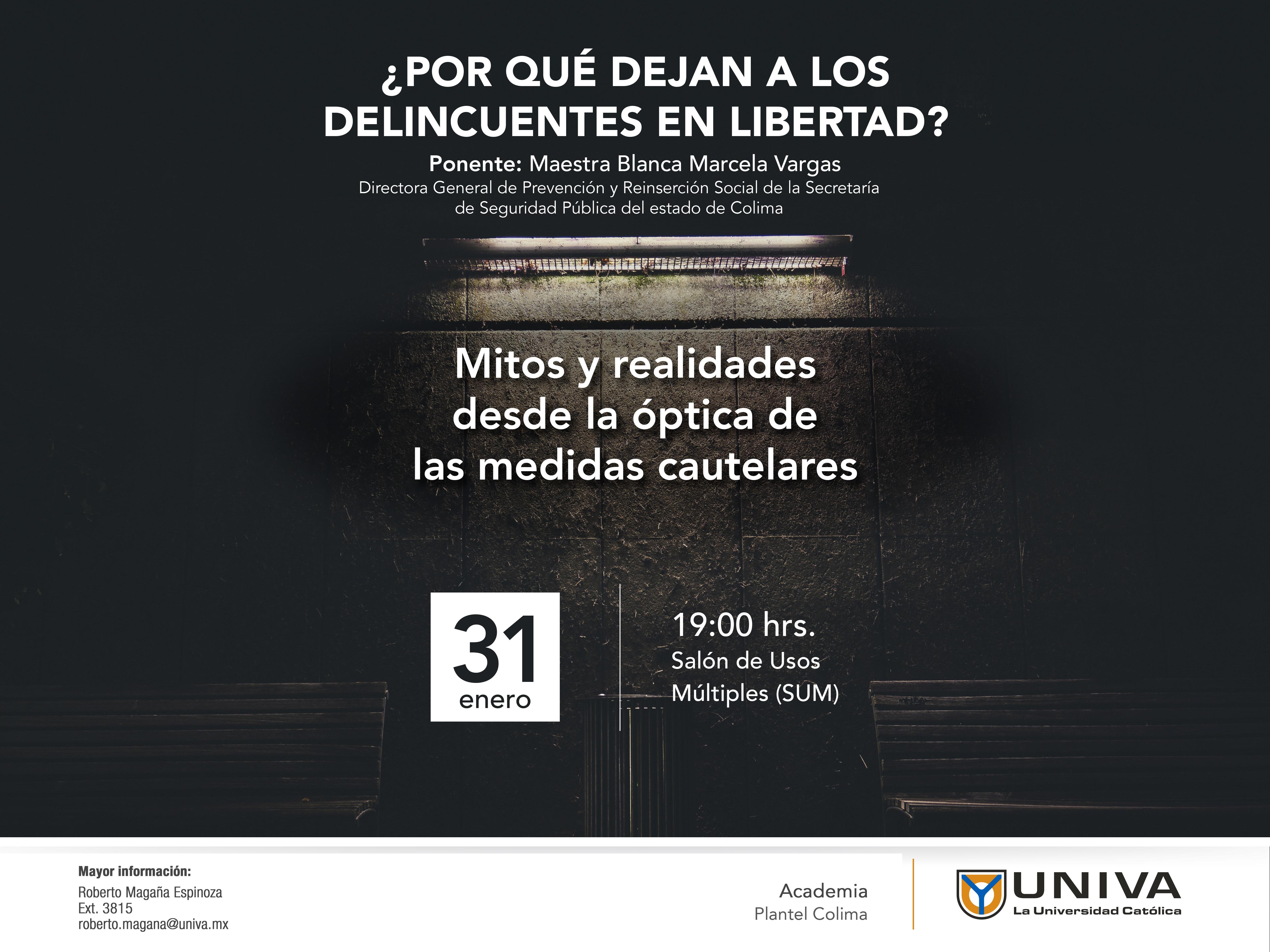 Conferencia «»¿Por qué dejan a los delincuentes en libertad? Mitos y realidades desde la óptica de las medidas cautelares.
