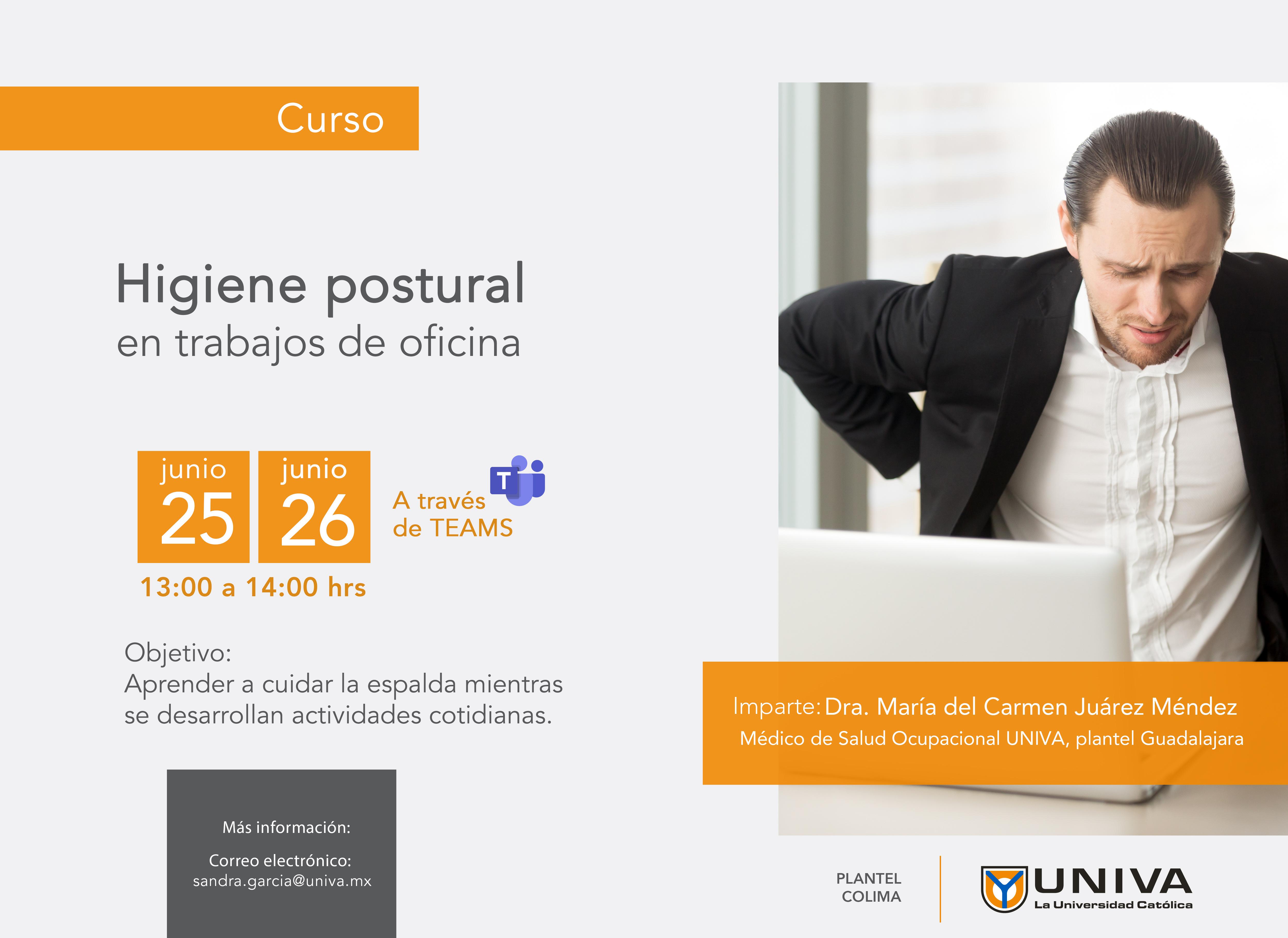 Curso: Higiene postural en trabajos de oficina