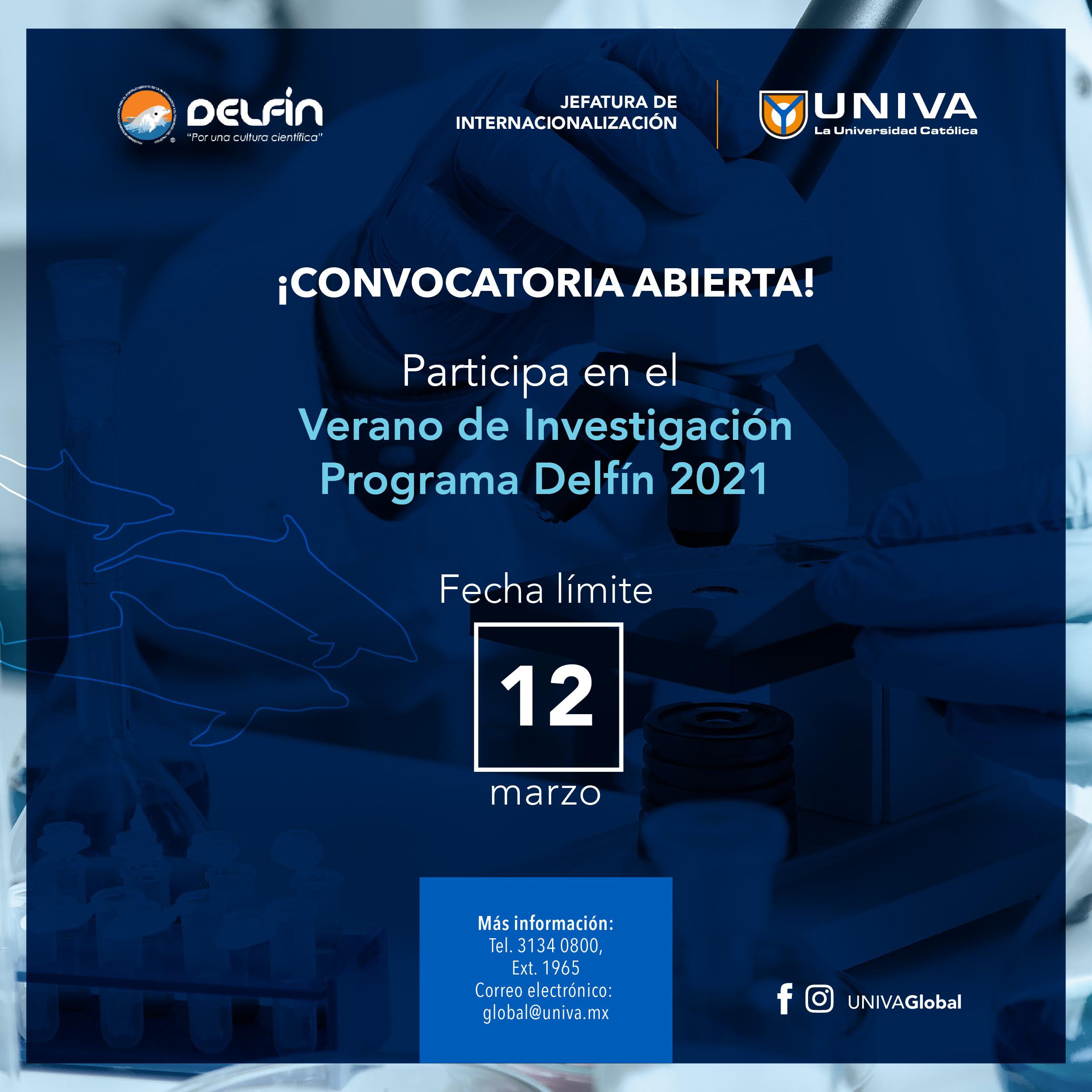 Convocatoria Programa de Investigación Científica Verano Delfín 2021.