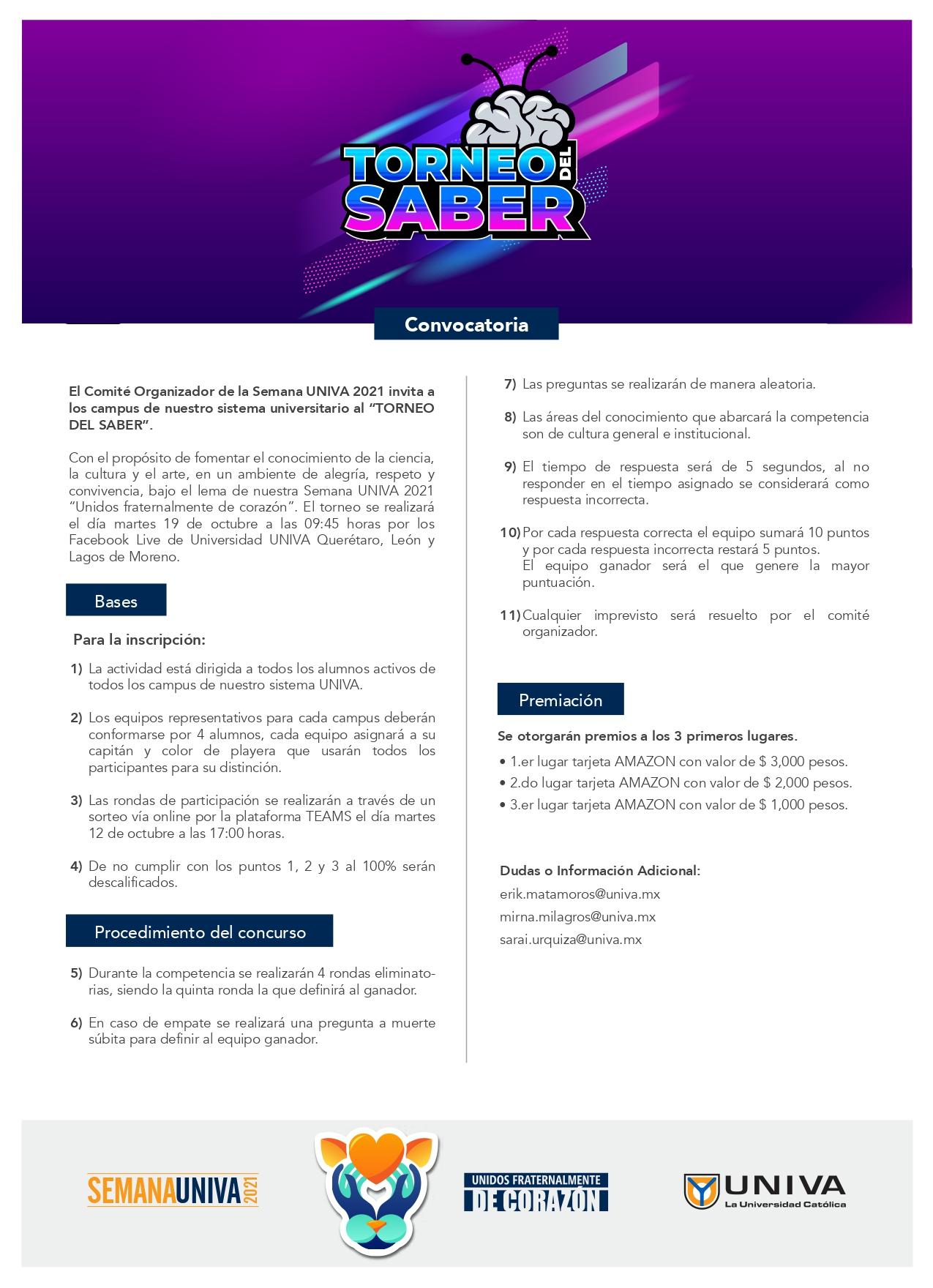 Convocatoria: Torneo del Saber / Semana UNIVA 2021