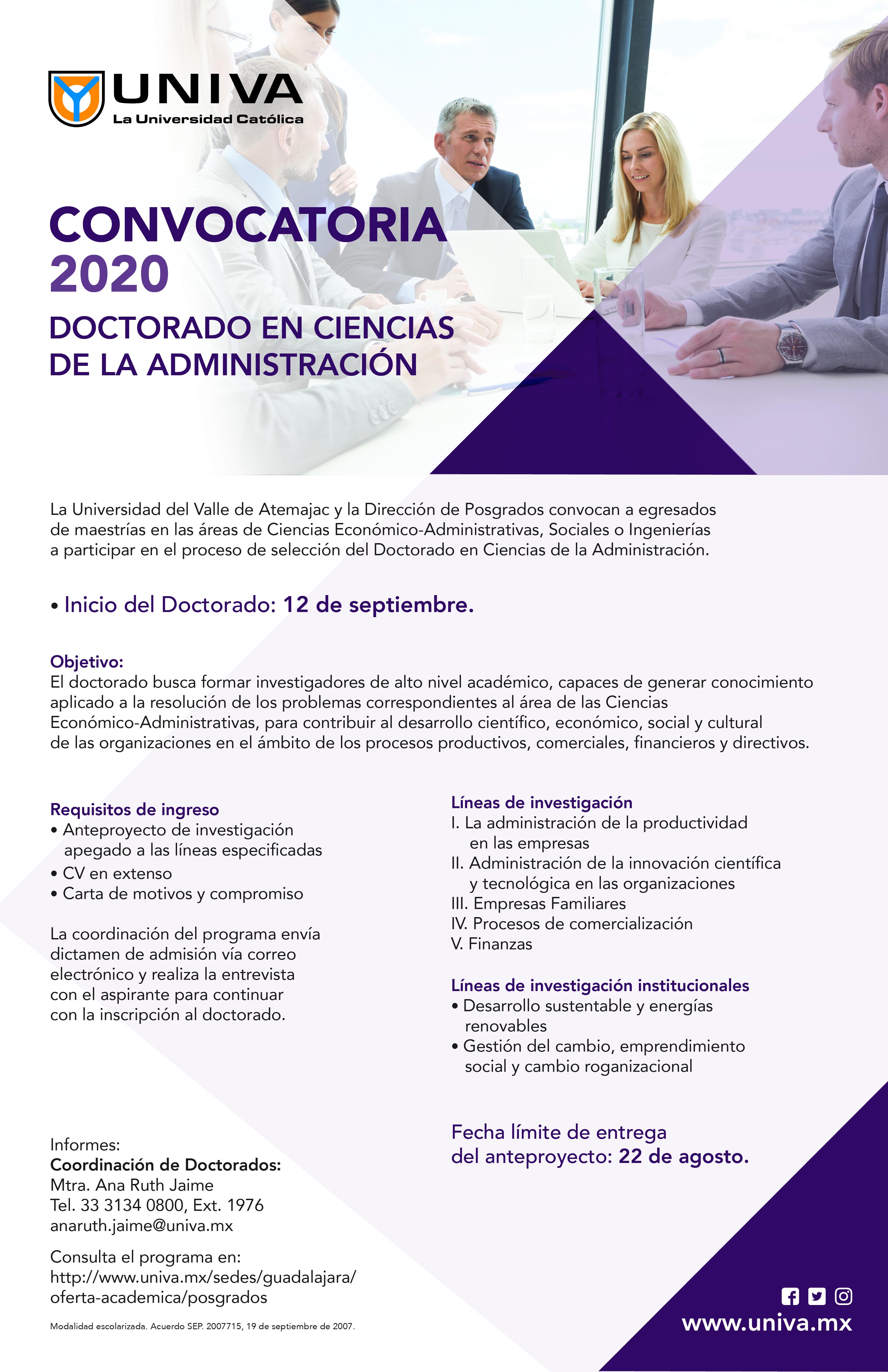 Convocatoria 2020 Doctorado en Ciencias de la Administración