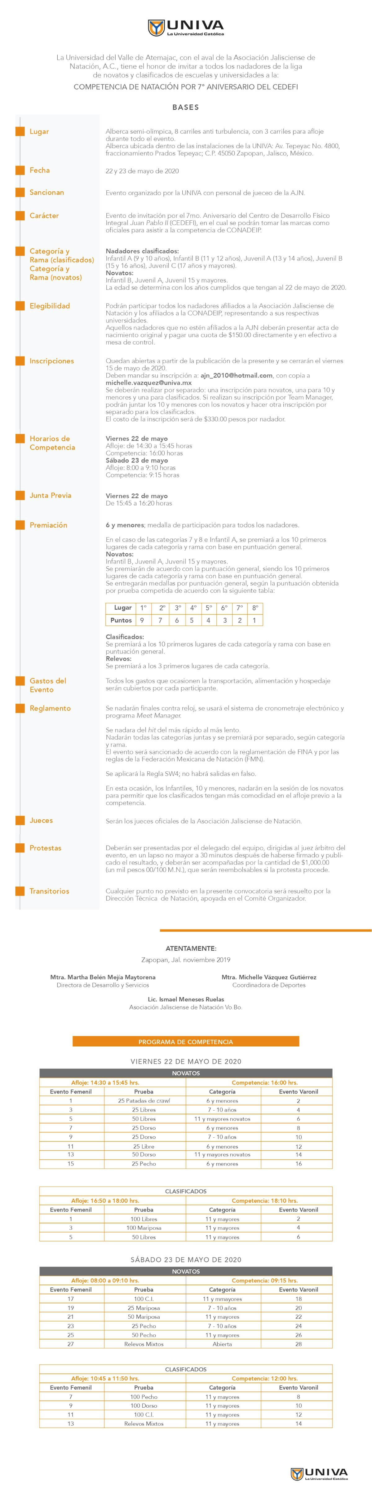 Convocatoria Competencia Natación 7° Aniversario CEDEFI