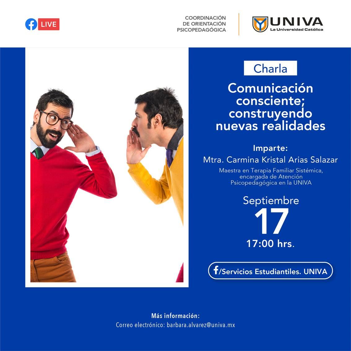 Charla: Comunicación consciente; construyendo nuevas realidades