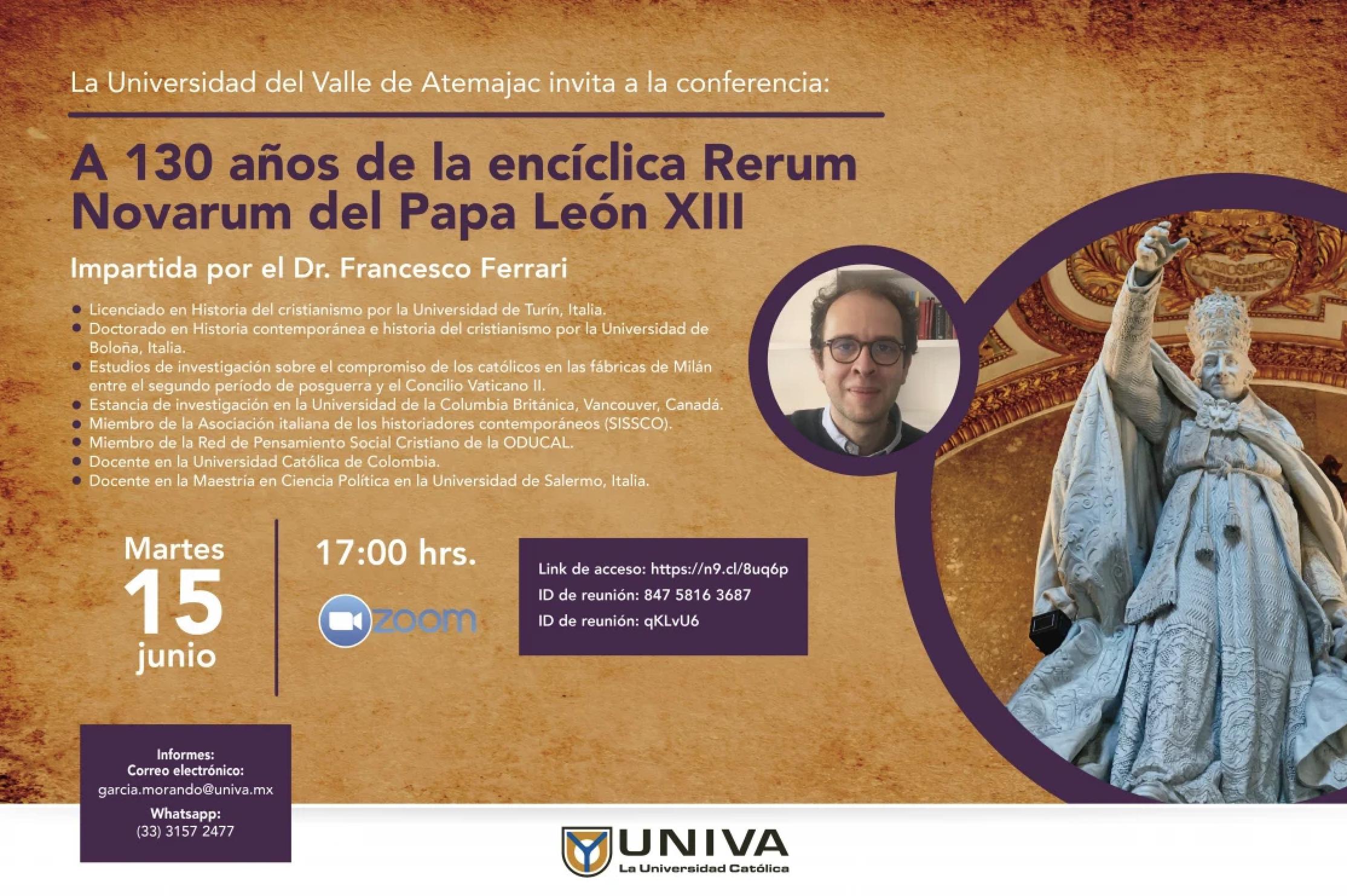 Conferencia: 130 años de la encíclica Rerum Novarum del Papa León XIII