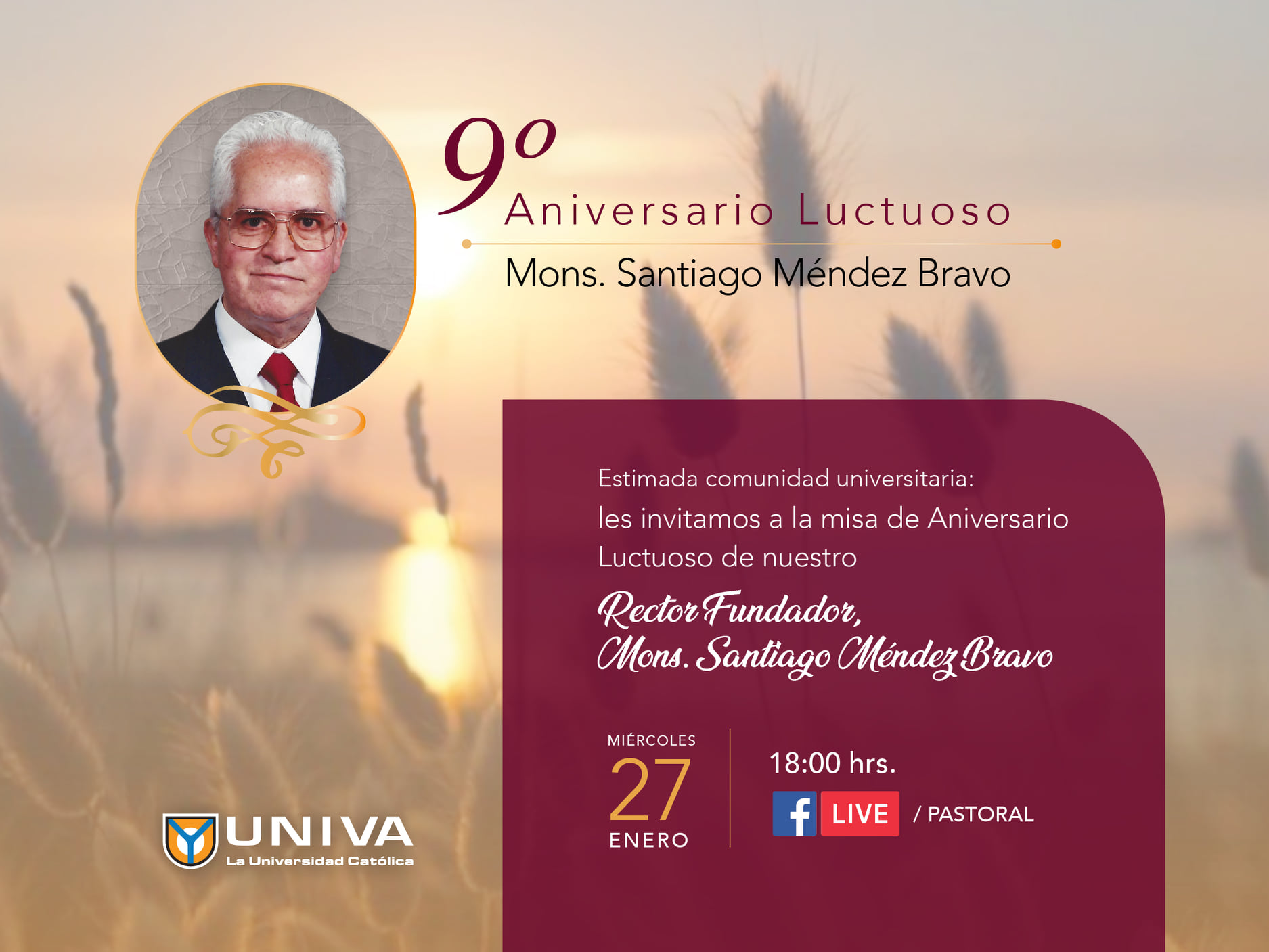 9º Aniversario luctuoso Mons. Santiago Méndez Bravo