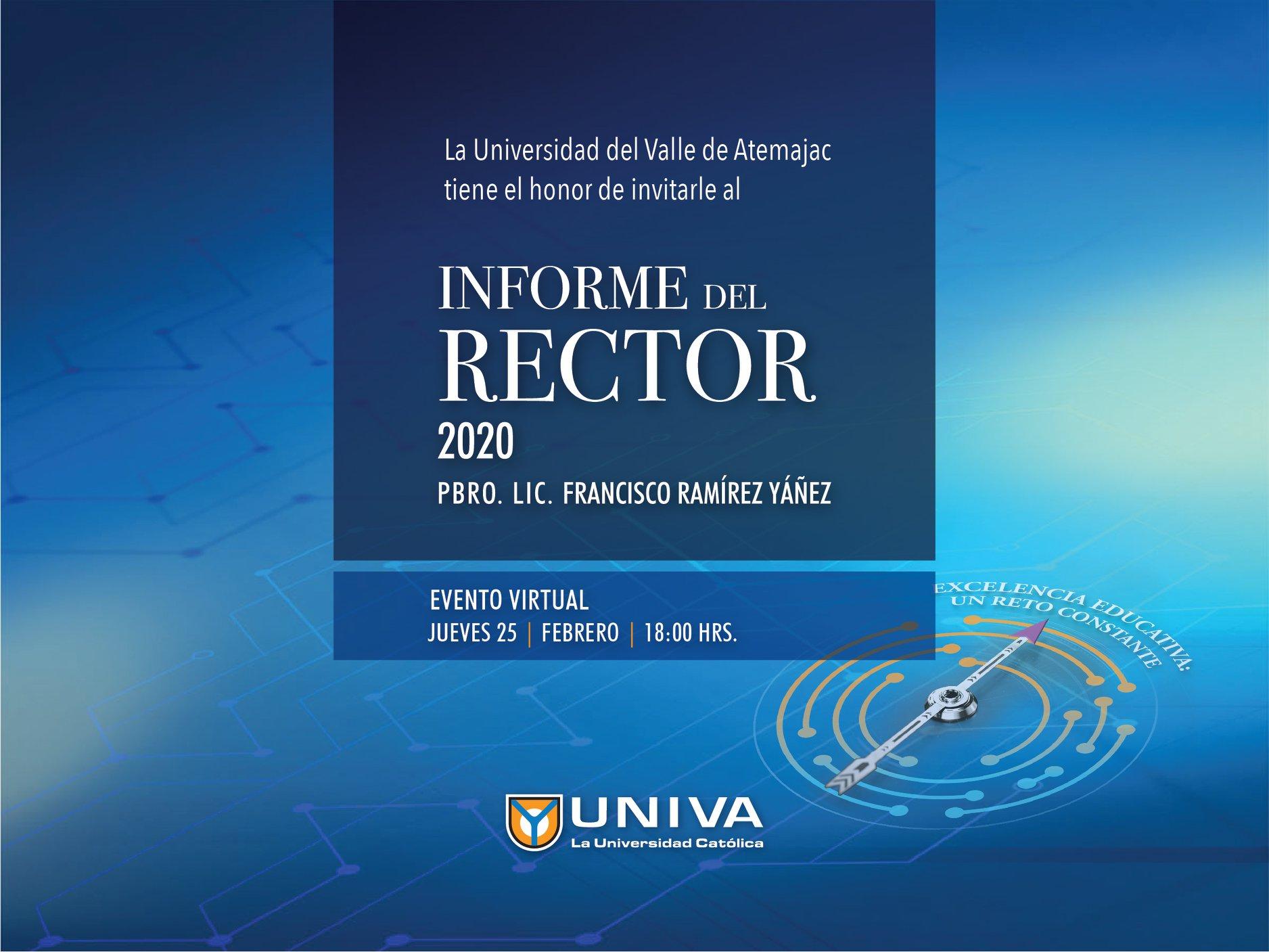 Informe del Rector 2020 Pbro. Lic. Francisco Ramírez Yáñez