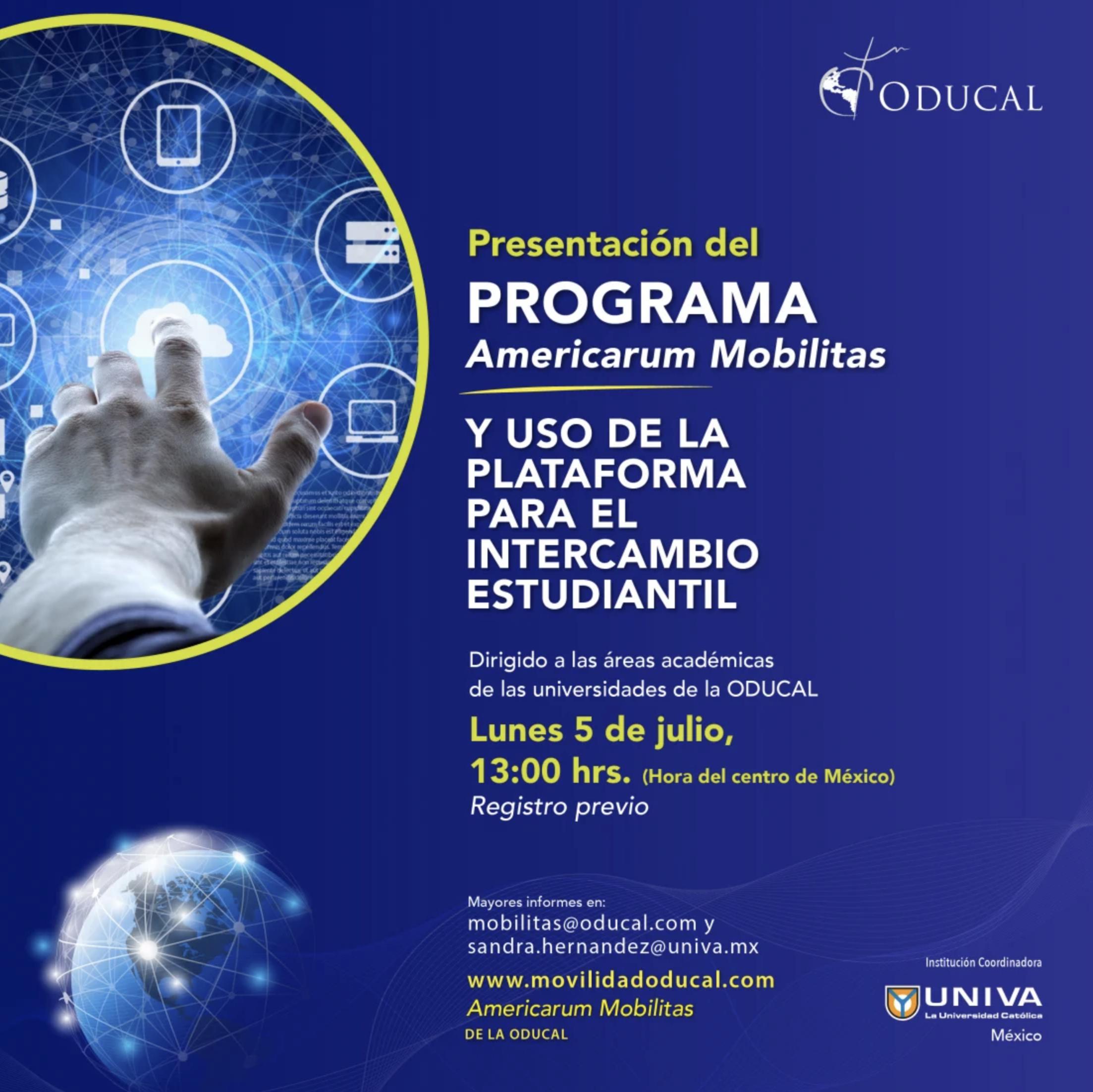 Presentación: Programa Americarum Mobilitas y Uso de la plataforma para el intercambio estudiantil